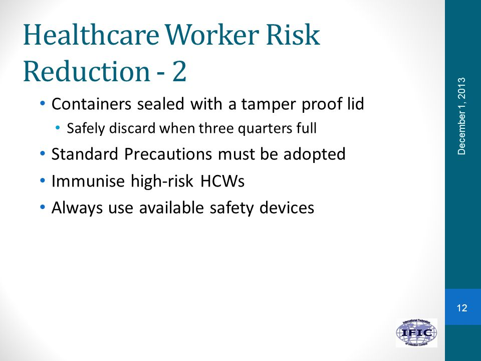 Healthcare Worker Risk Reduction - 2