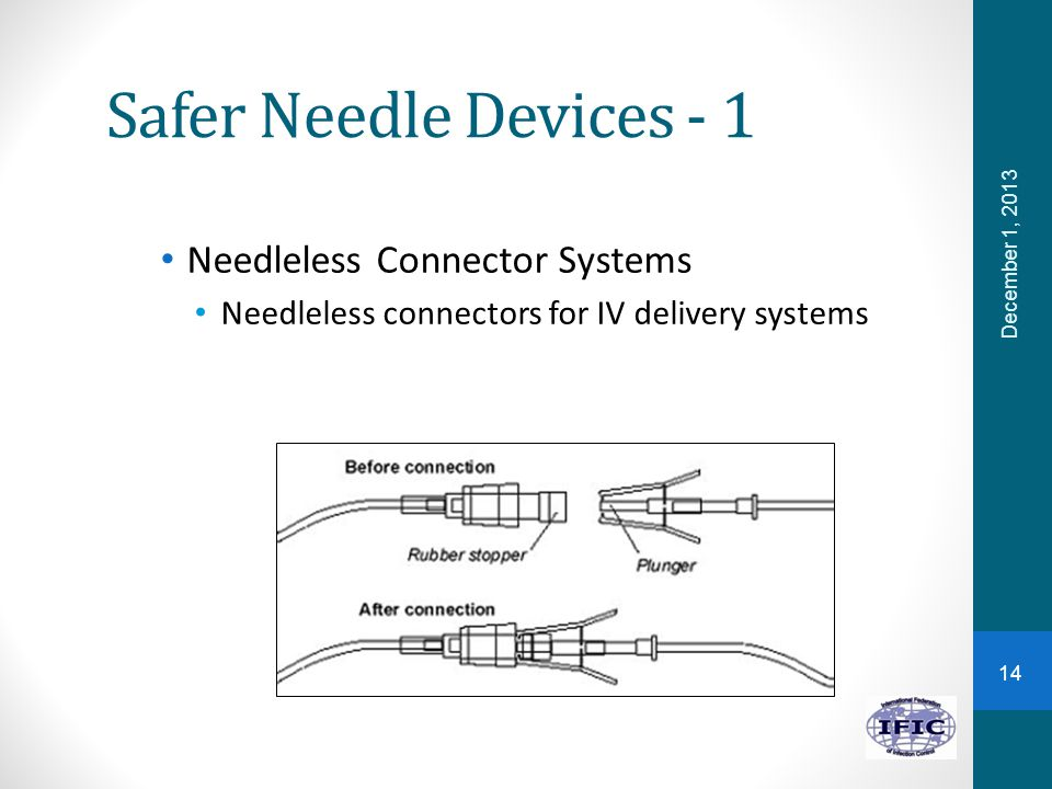 Safer Needle Devices - 1 Needleless Connector Systems