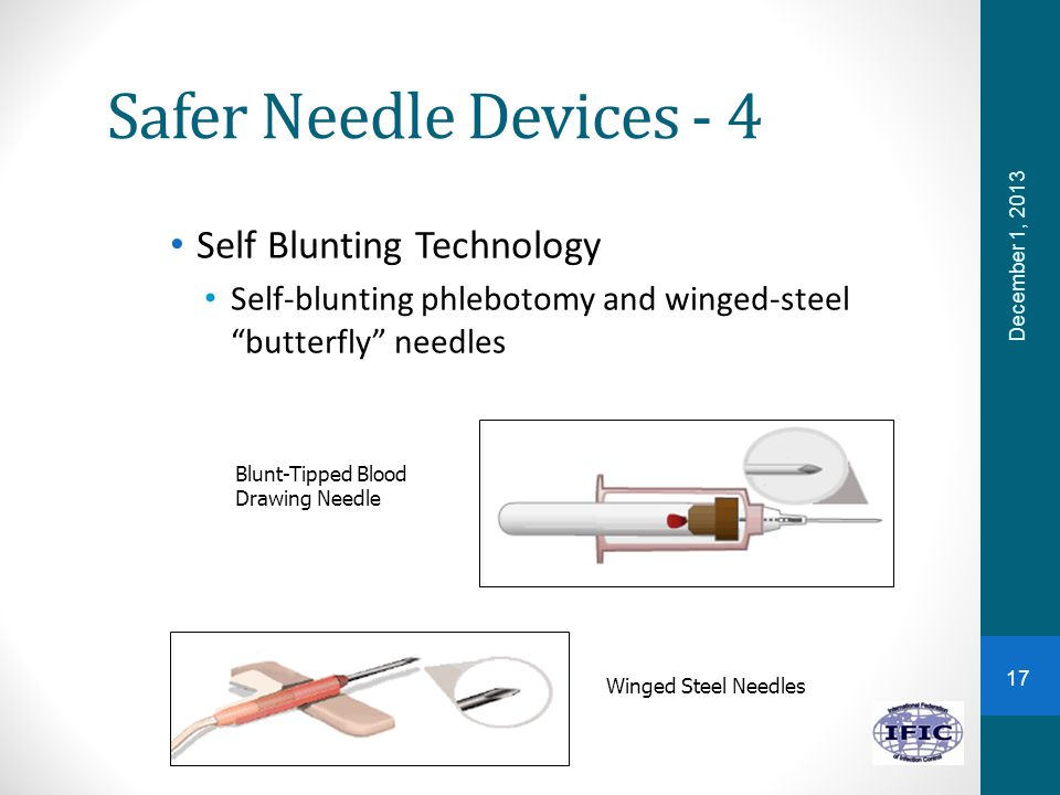 Safer Needle Devices - 4 Self Blunting Technology