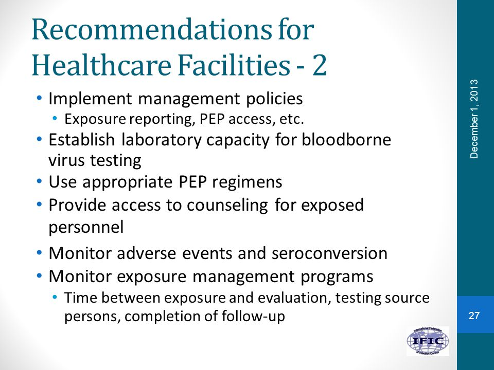 Recommendations for Healthcare Facilities - 2