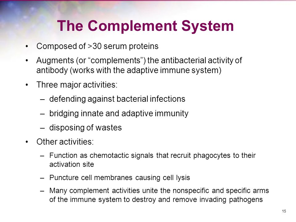 The Complement System Composed of >30 serum proteins