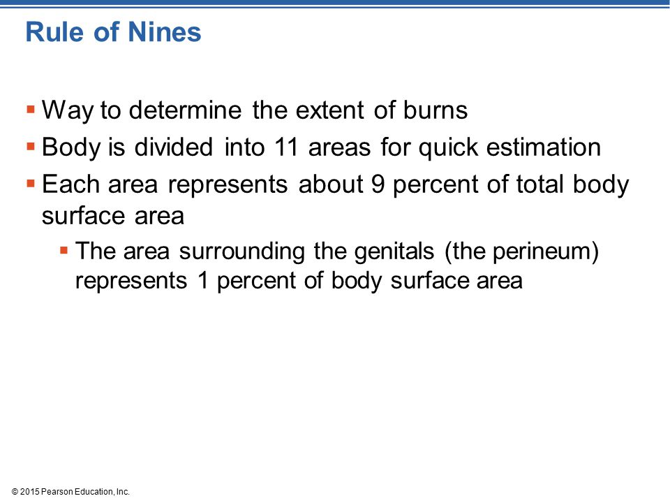 Rule of Nines Way to determine the extent of burns