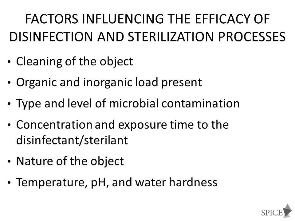 Factors influencing the efficacy of disinfection and sterilization processes