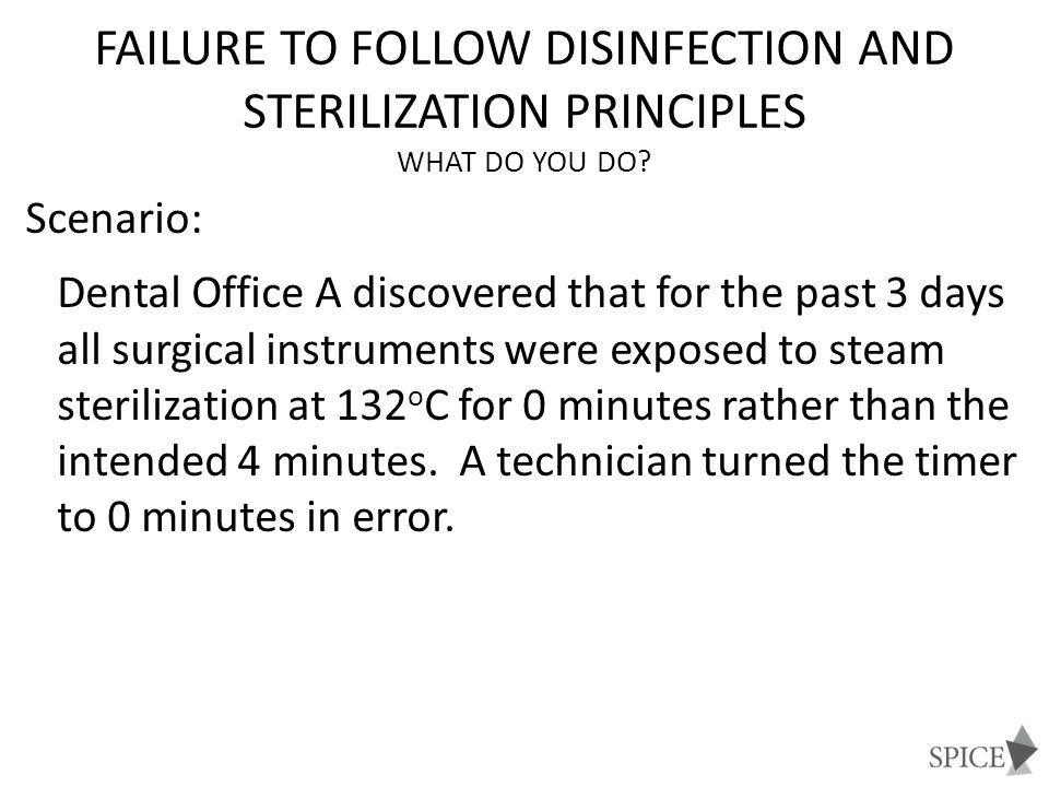 Failure to Follow Disinfection and Sterilization Principles What Do You Do