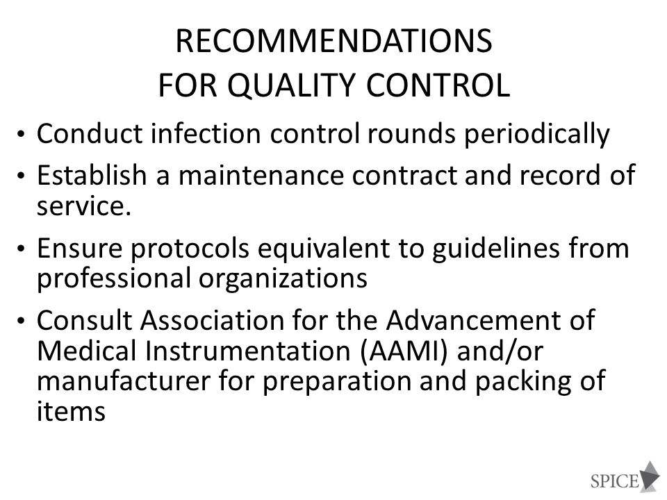 Recommendations for Quality Control