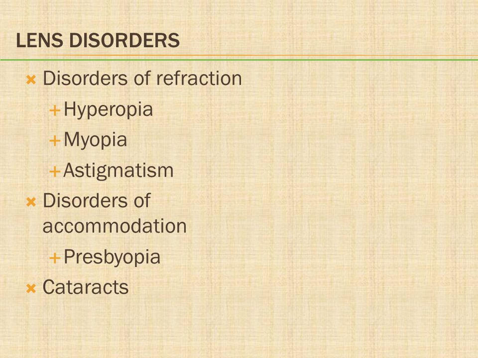 Lens Disorders Disorders of refraction. Hyperopia. Myopia. Astigmatism. Disorders of accommodation.