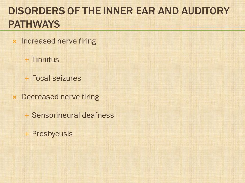 Disorders of the Inner Ear and Auditory Pathways