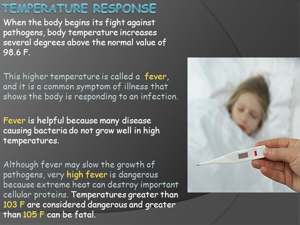 Temperature response When the body begins its fight against pathogens, body temperature increases several degrees above the normal value of 98.6 F.