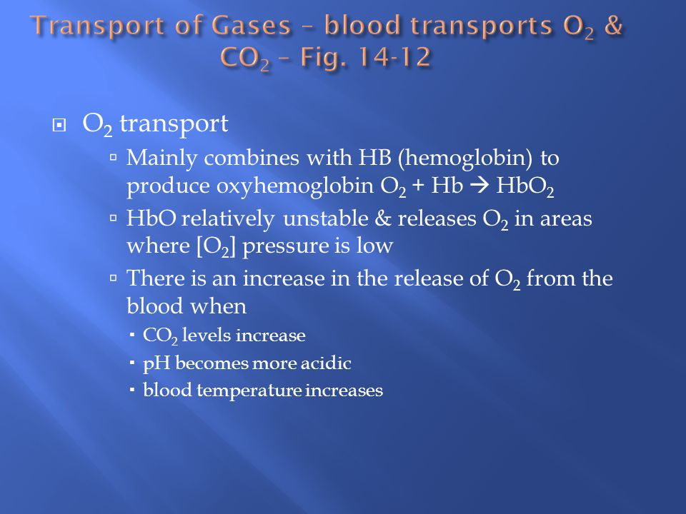 Transport of Gases – blood transports O2 & CO2 – Fig. 14-12