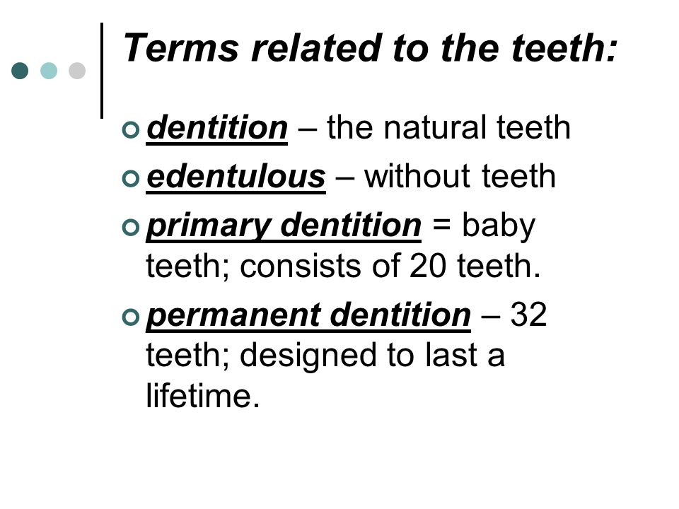 Terms related to the teeth: