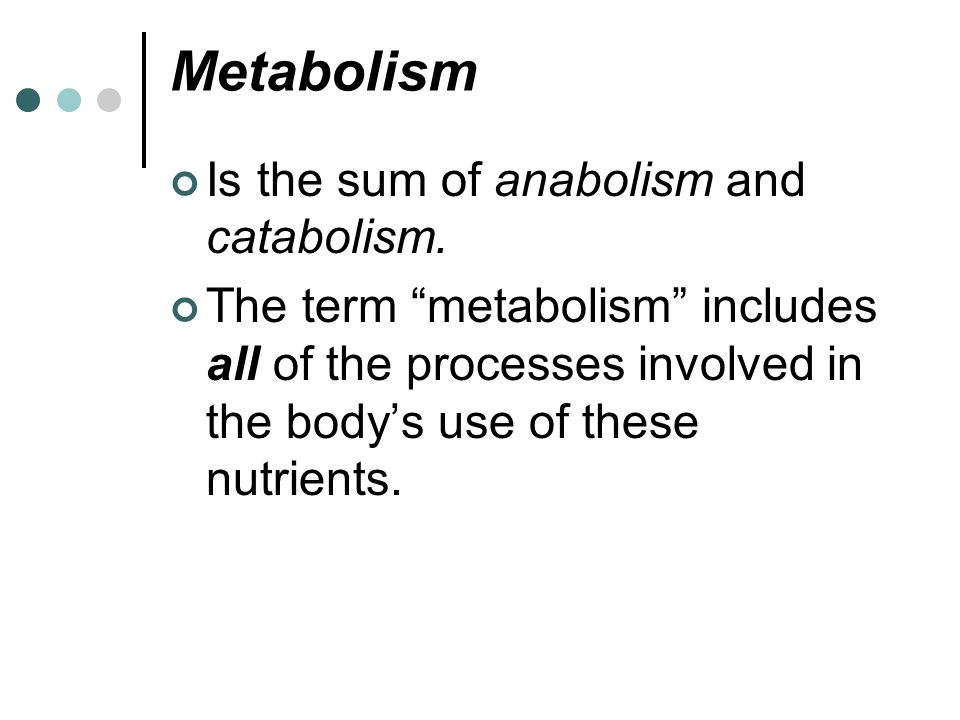 Metabolism Is the sum of anabolism and catabolism.