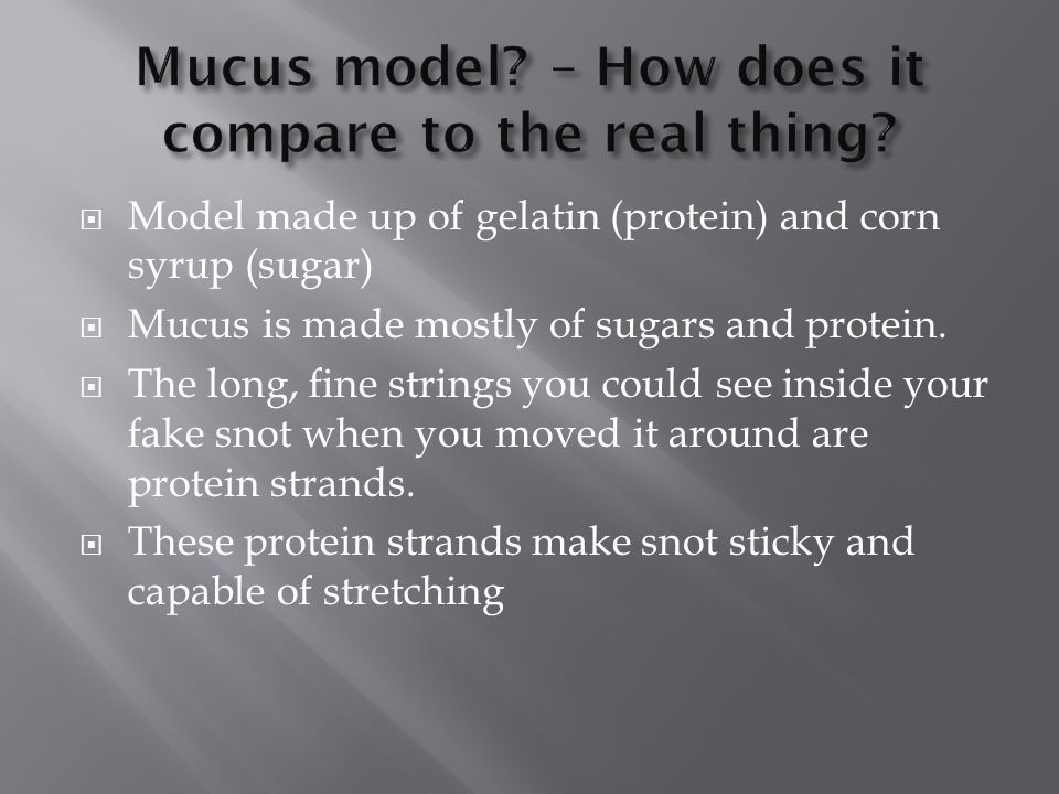 Mucus model – How does it compare to the real thing