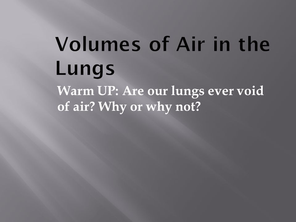 Volumes of Air in the Lungs