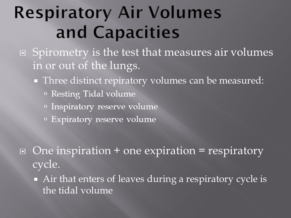 Respiratory Air Volumes and Capacities