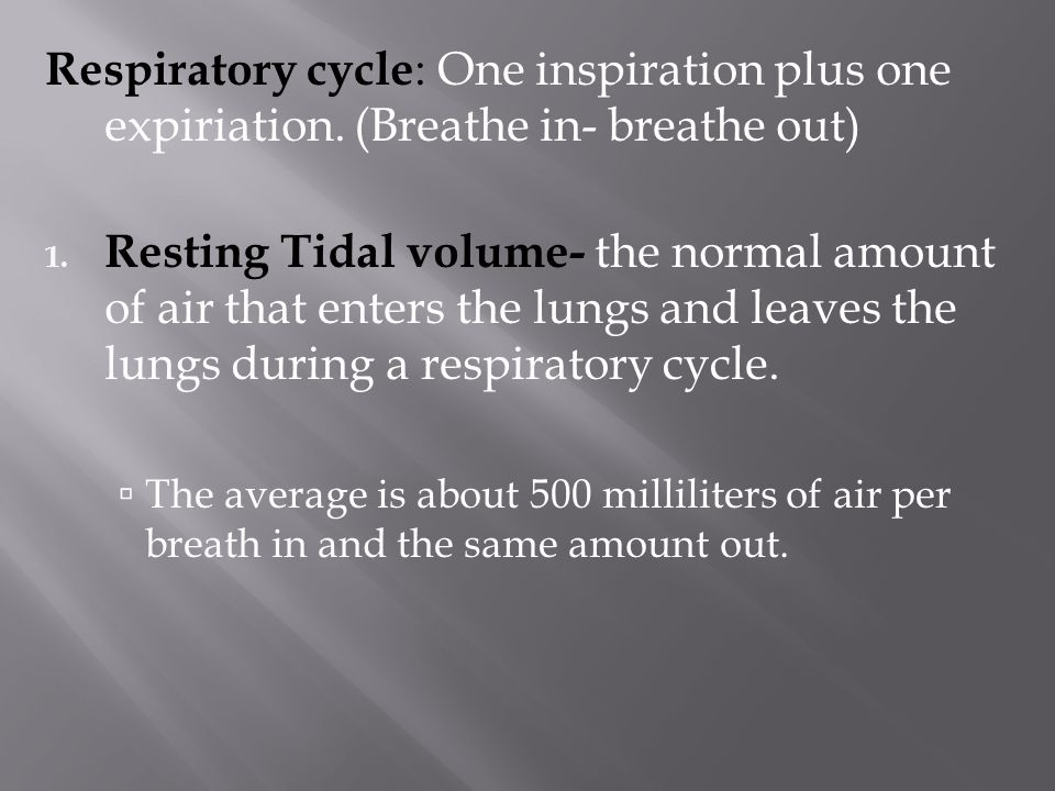 Respiratory cycle: One inspiration plus one expiriation