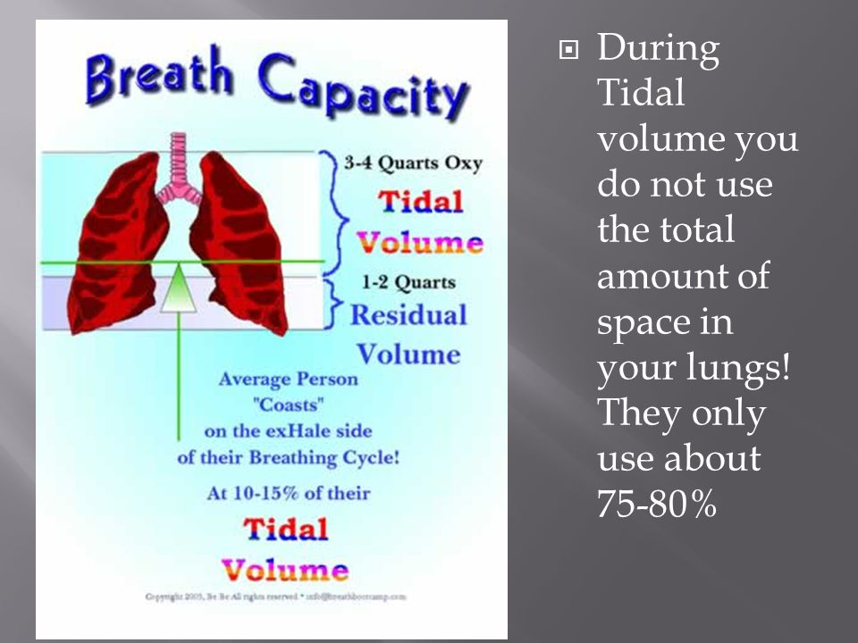 During Tidal volume you do not use the total amount of space in your lungs.