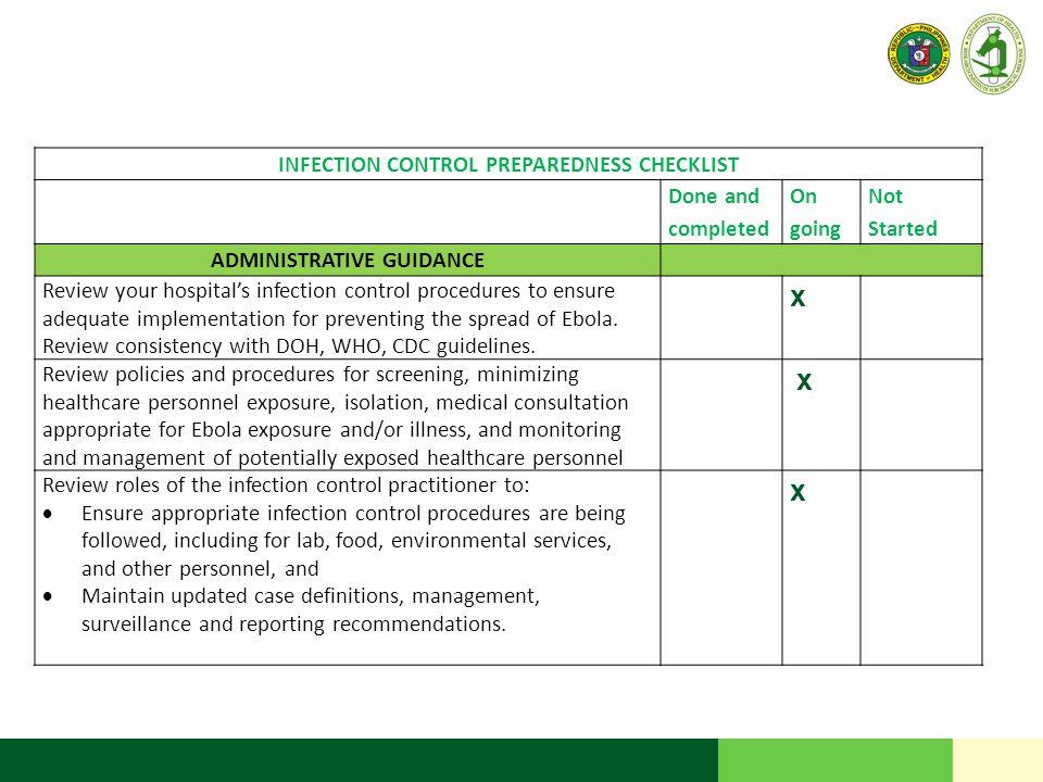 INFECTION CONTROL PREPAREDNESS CHECKLIST ADMINISTRATIVE GUIDANCE