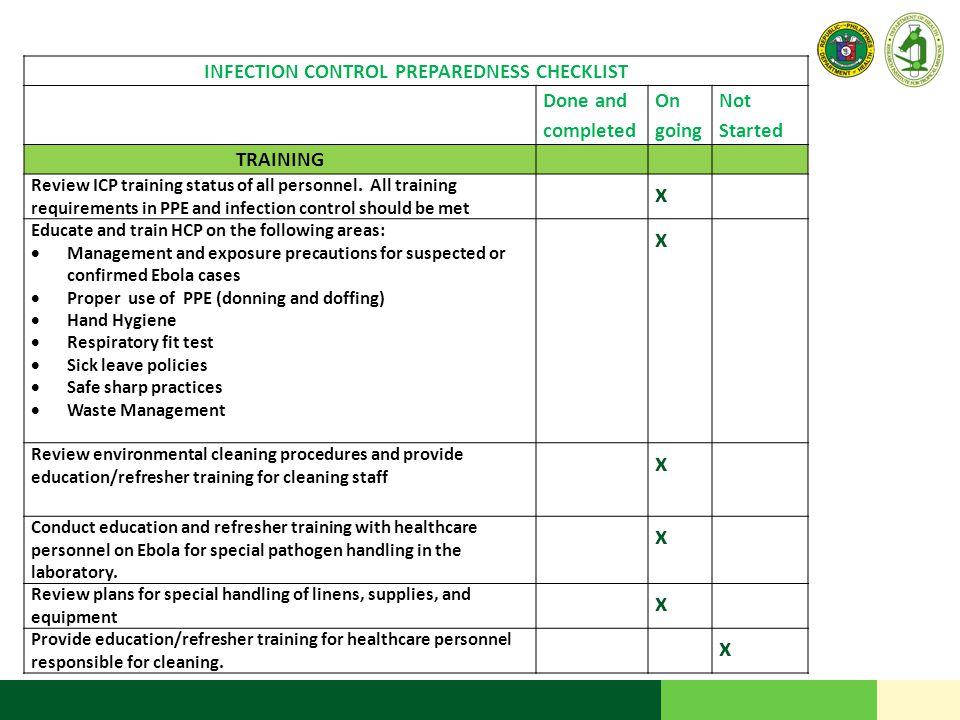 INFECTION CONTROL PREPAREDNESS CHECKLIST