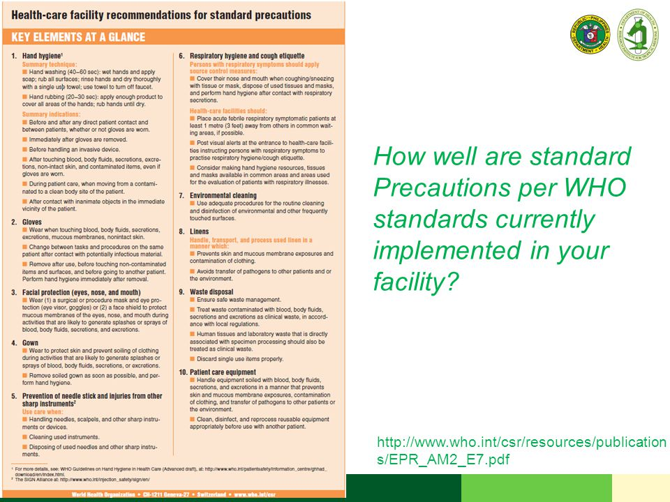 How well are standard Precautions per WHO standards currently implemented in your facility