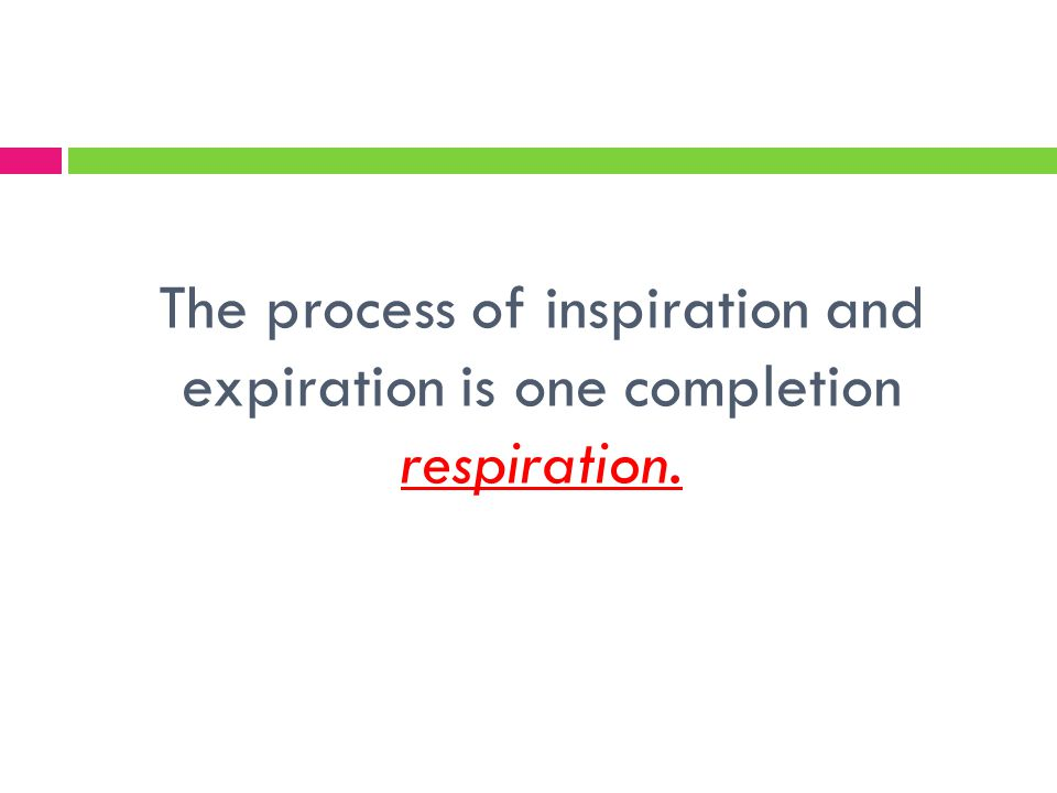 The process of inspiration and expiration is one completion respiration.