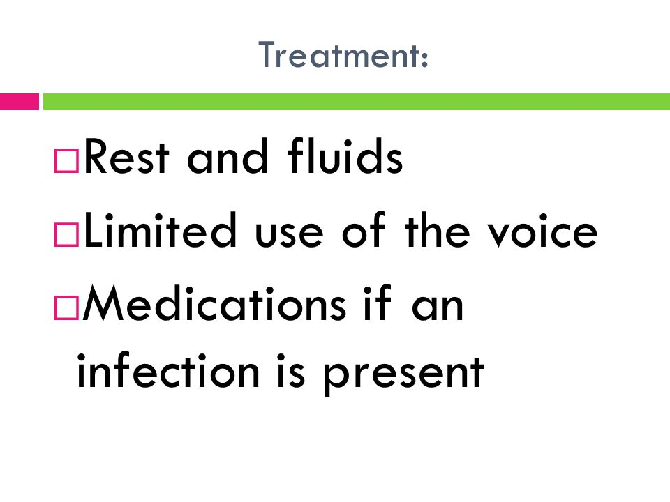 Limited use of the voice Medications if an infection is present