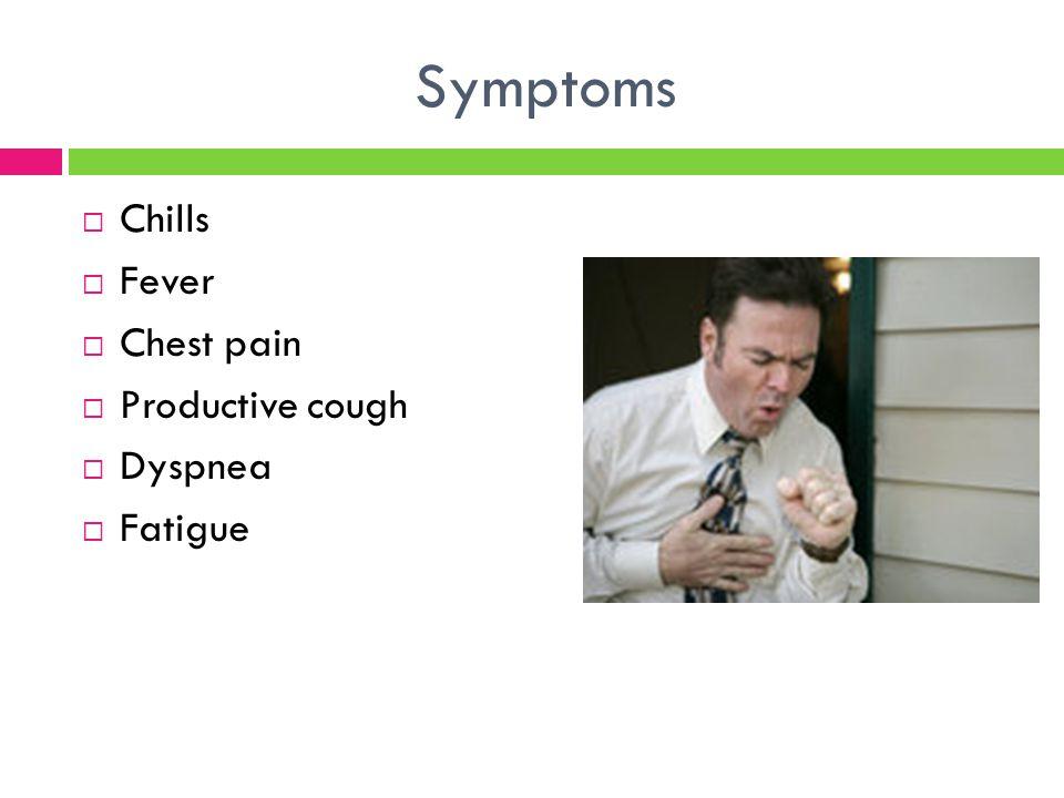 Symptoms Chills Fever Chest pain Productive cough Dyspnea Fatigue