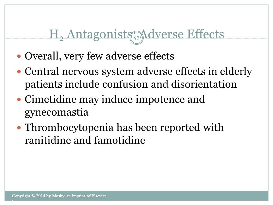 H2 Antagonists: Adverse Effects