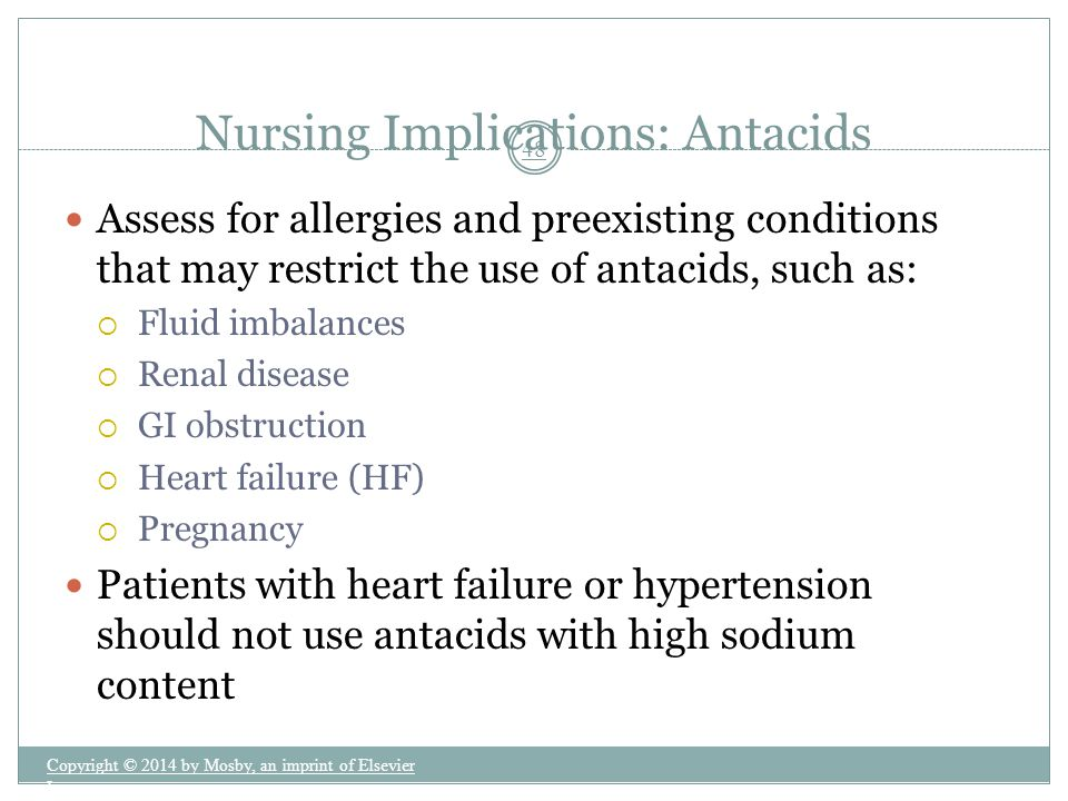 Nursing Implications: Antacids