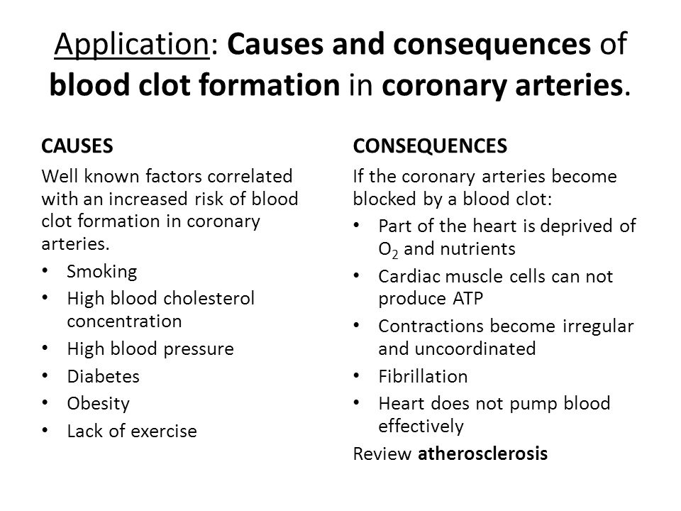 Application: Causes and consequences of blood clot formation in coronary arteries.