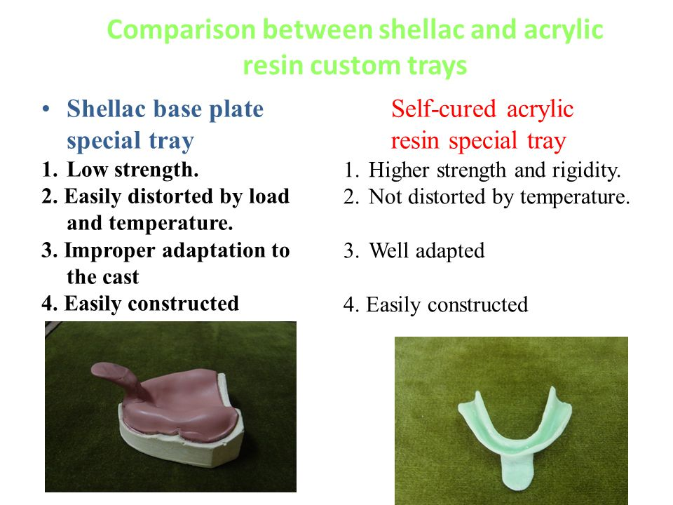 Comparison between shellac and acrylic resin custom trays