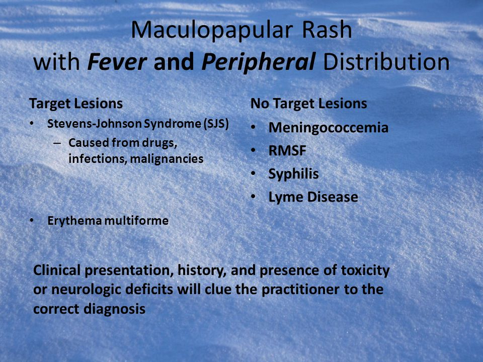 Maculopapular Rash with Fever and Peripheral Distribution