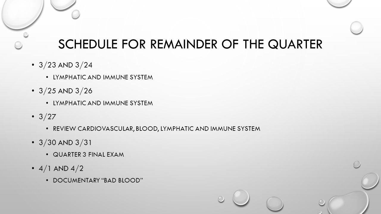 Schedule for Remainder of the Quarter