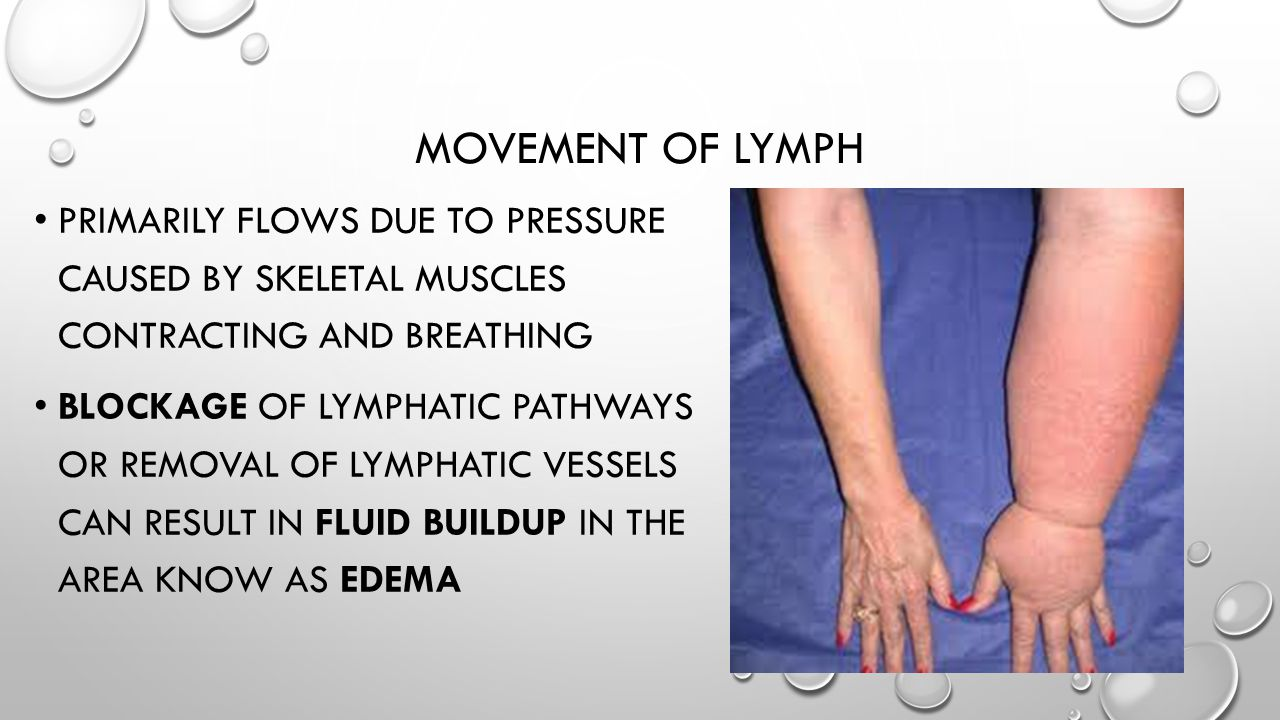 Movement of Lymph Primarily flows due to pressure caused by skeletal muscles contracting and breathing.