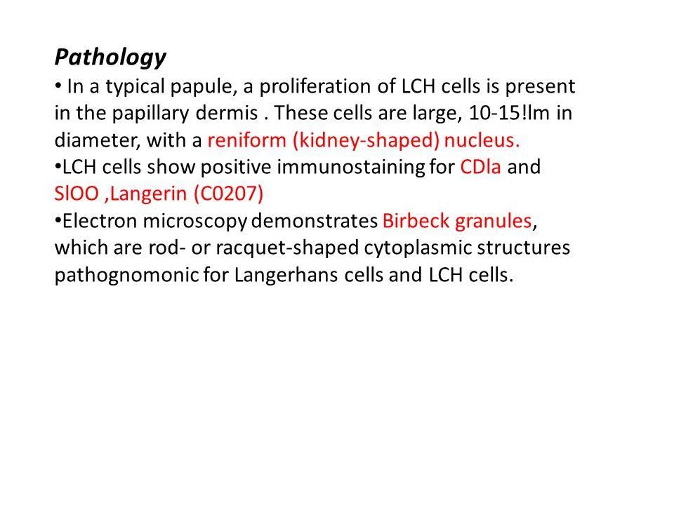 Pathology In a typical papule, a proliferation of LCH cells is present
