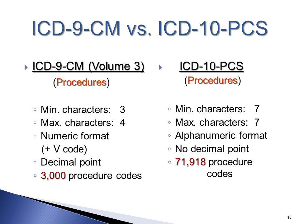 ICD-9-CM vs. ICD-10-PCS ICD-9-CM (Volume 3) (Procedures) ICD-10-PCS