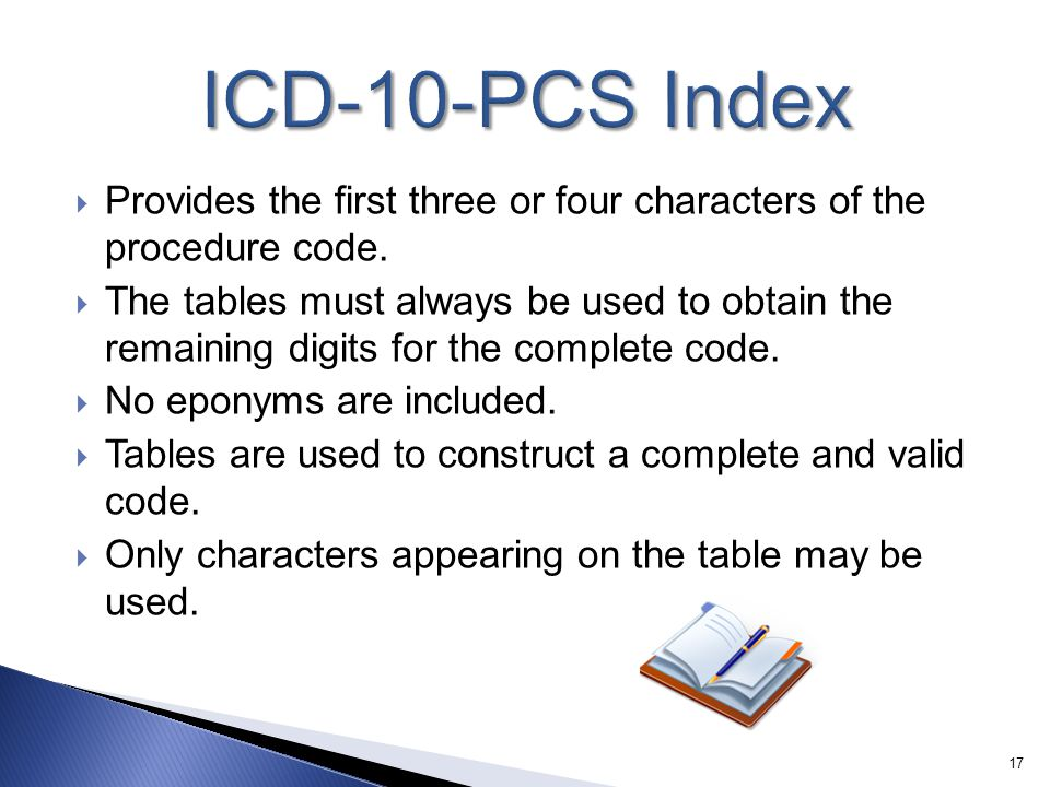 ICD-10-PCS Index Provides the first three or four characters of the procedure code.