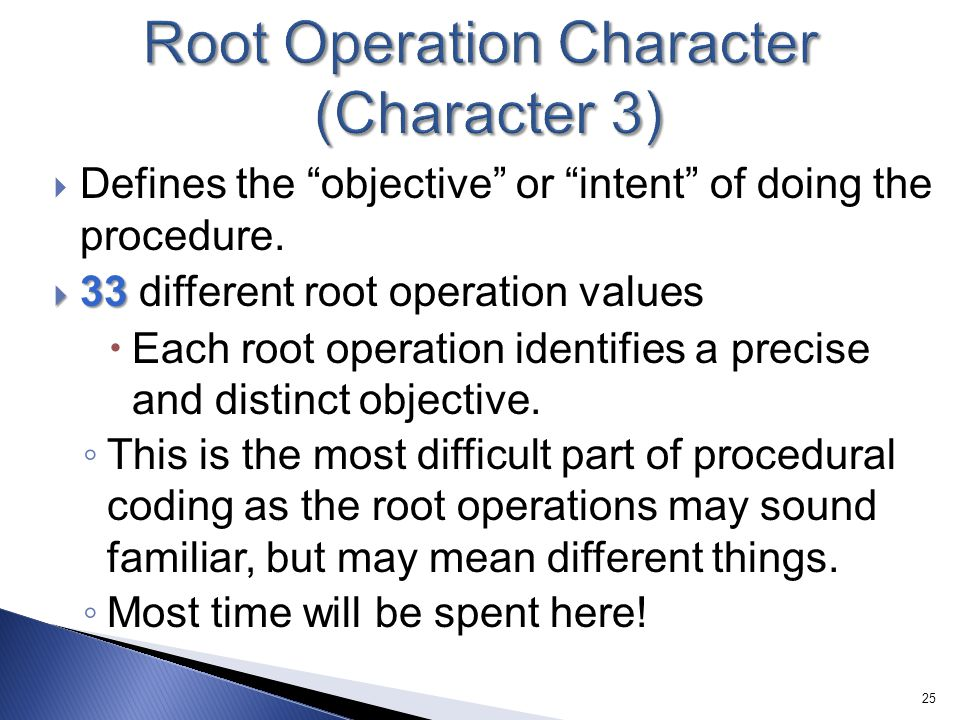 Root Operation Character (Character 3)