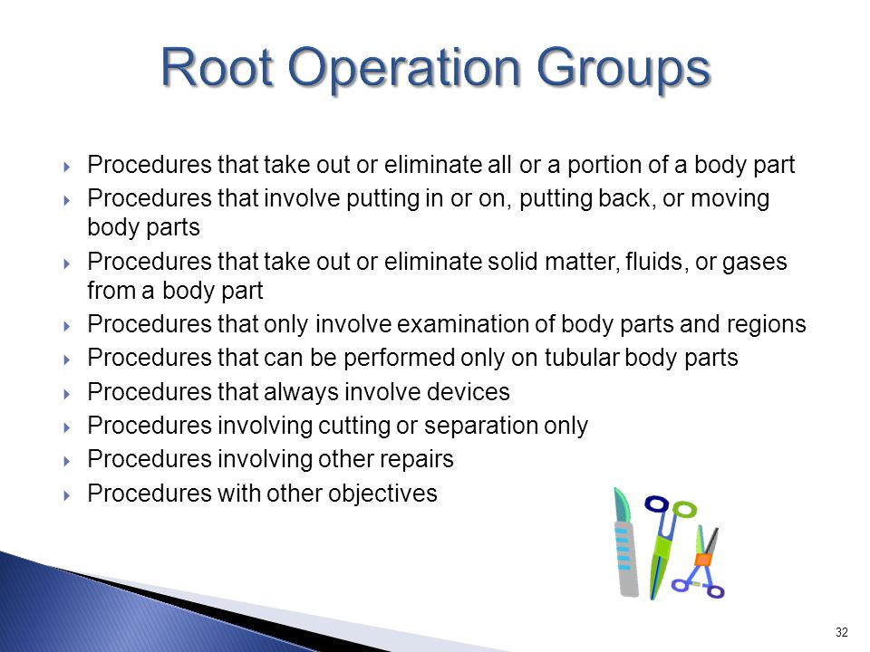 Root Operation Groups Procedures that take out or eliminate all or a portion of a body part.