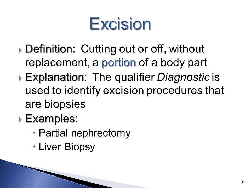Excision Definition: Cutting out or off, without replacement, a portion of a body part.