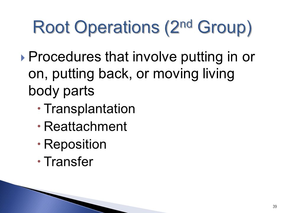 Root Operations (2nd Group)