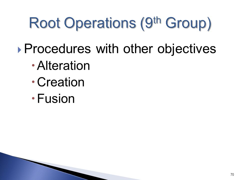 Root Operations (9th Group)