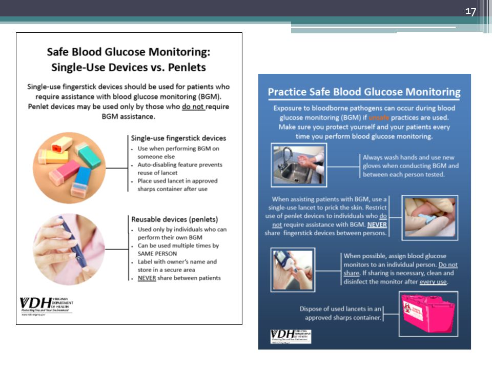 This slide has two signs/posters that address blood glucose monitoring