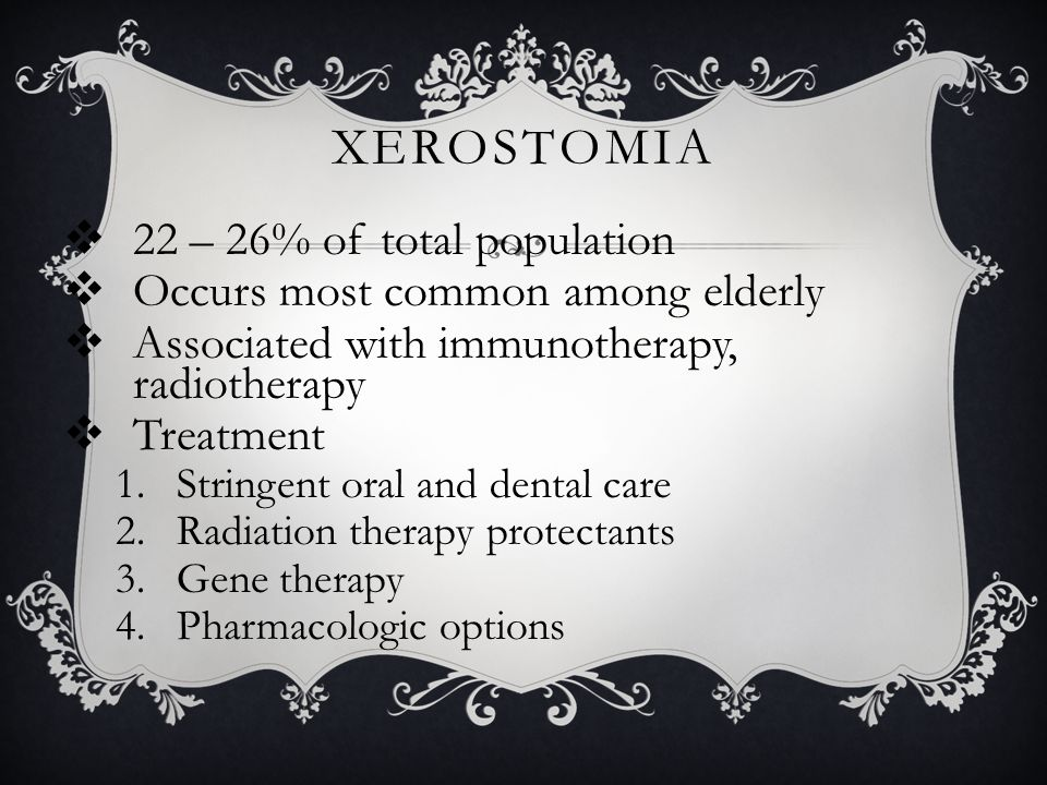 Xerostomia 22 – 26% of total population