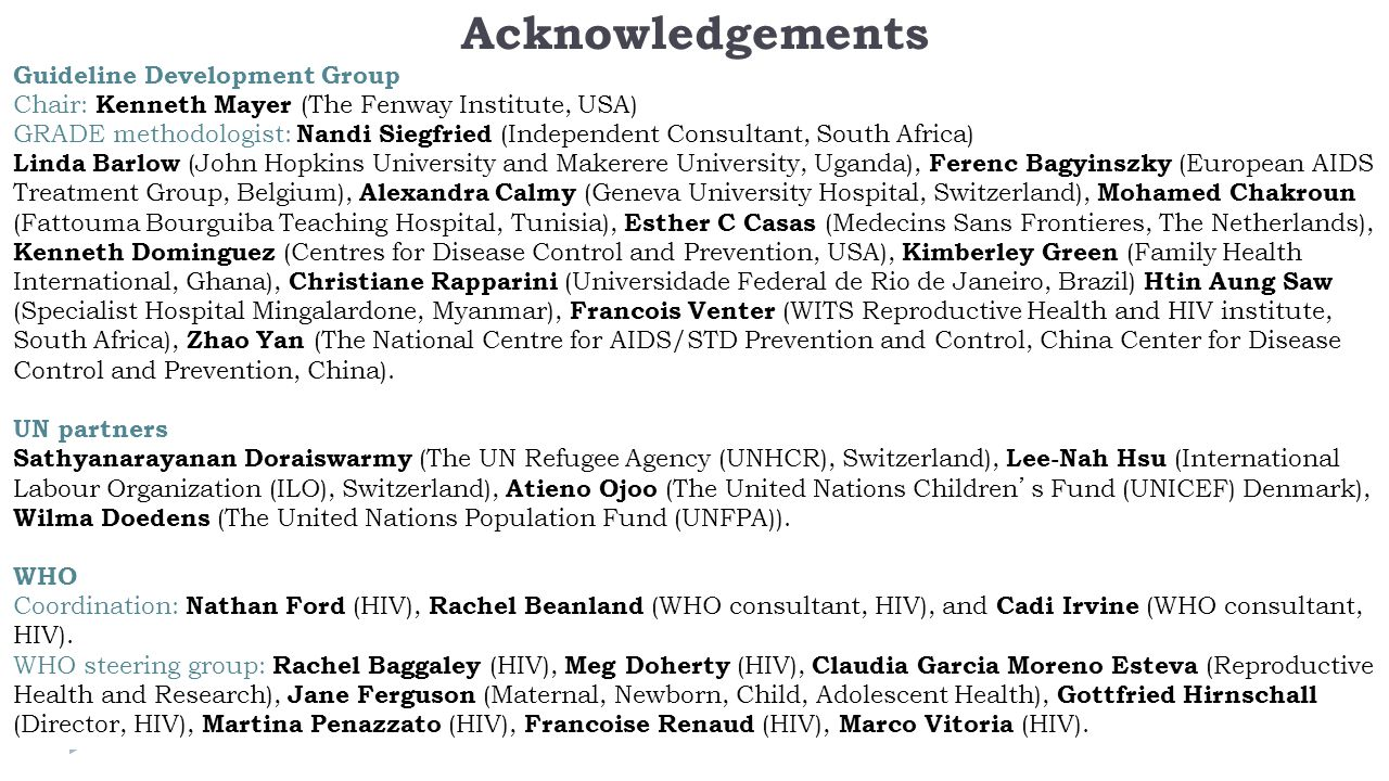 Acknowledgements Guideline Development Group