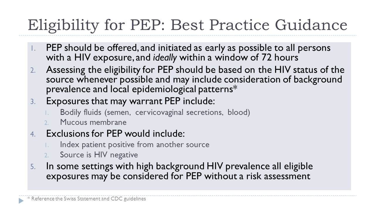 Eligibility for PEP: Best Practice Guidance