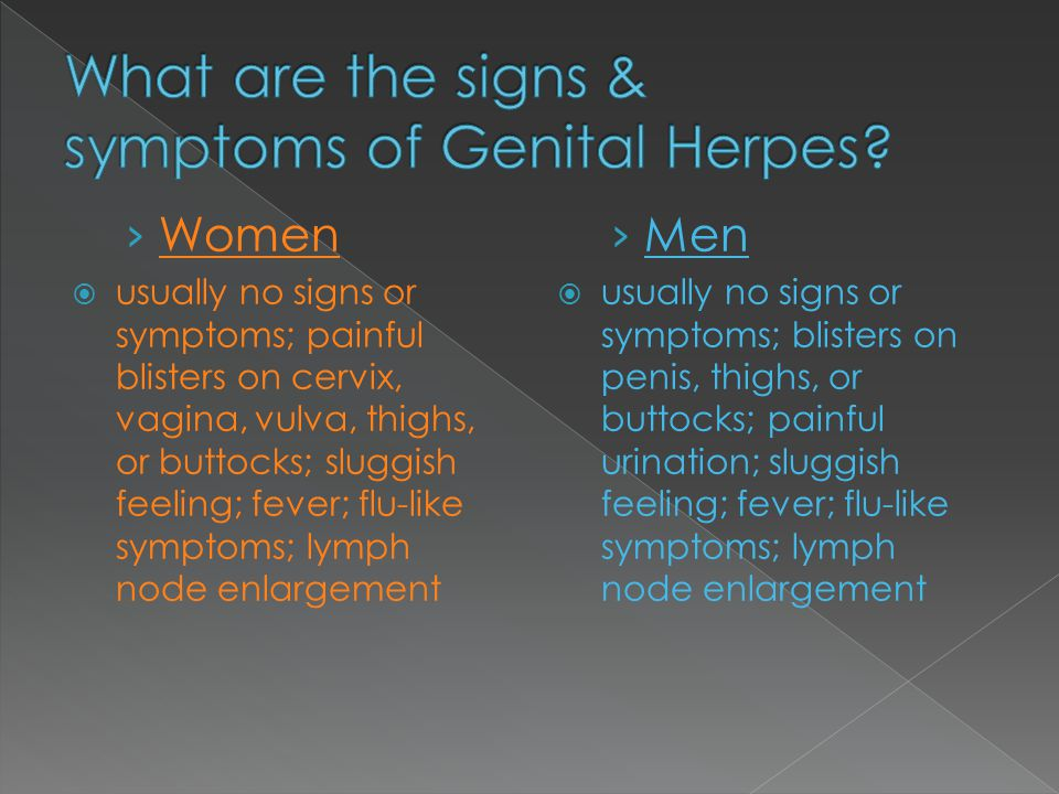 What are the signs & symptoms of Genital Herpes