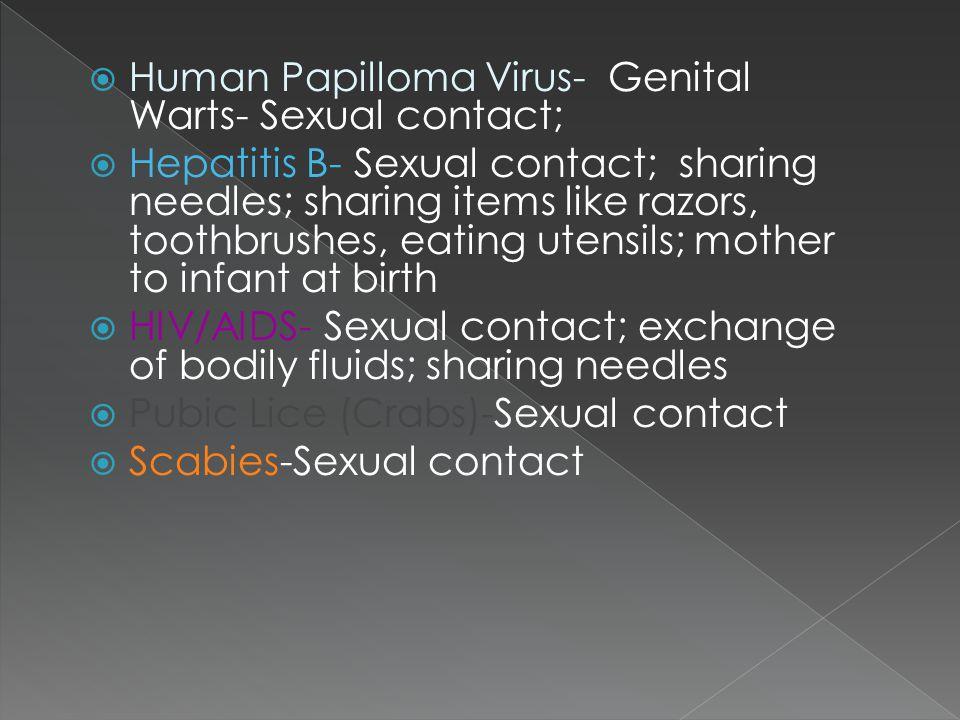Human Papilloma Virus- Genital Warts- Sexual contact;
