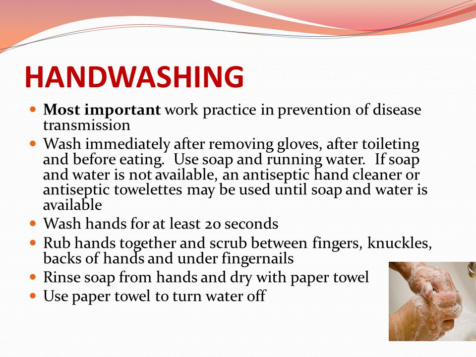 HANDWASHING Most important work practice in prevention of disease transmission.
