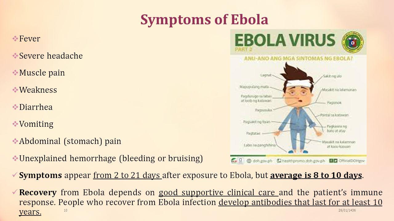 Symptoms of Ebola Fever Severe headache Muscle pain Weakness Diarrhea