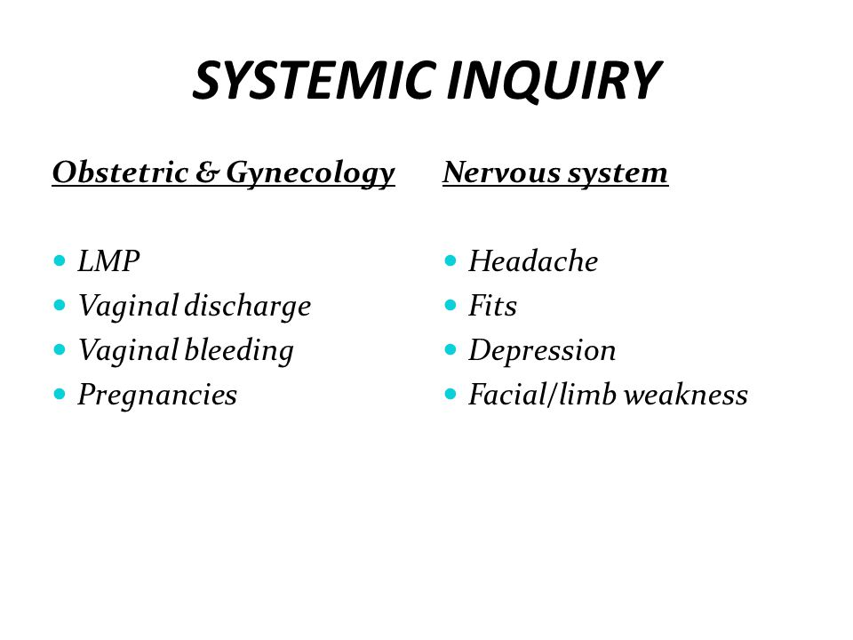 SYSTEMIC INQUIRY Obstetric & Gynecology LMP Vaginal discharge